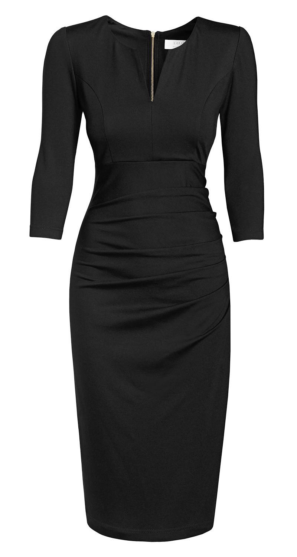 AMCO Fashion by Annett Möller | AMCO Savanna Dress | Classic Black | Schwarz | mit auffälligem Reissverschluss | elegantes Strechkleid