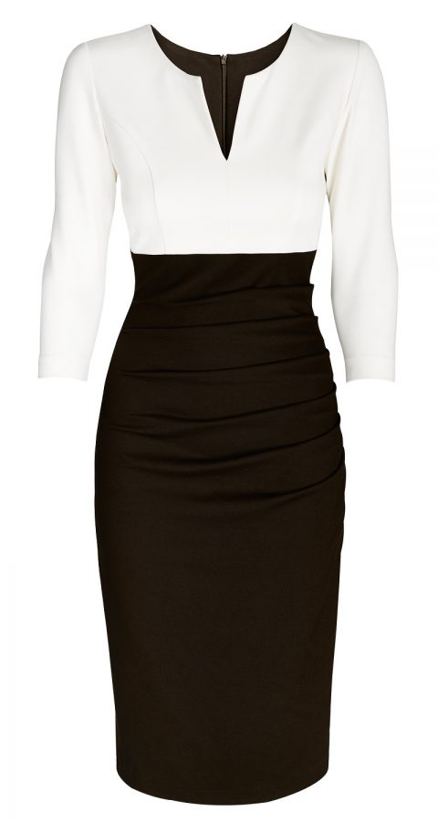 AMCO Fashion by Annett Möller | AMCO Savanna Dress | Cream and Dark Cocoa | Creme und Dunkelbraun | elegant-sportliches Strechkleid