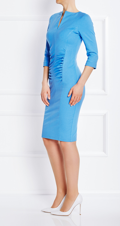 AMCO Fashion by Annett Möller | AMCO Magnolia Dress | Sky Blue | Hellblau | Strech-Kleid | Bauch umspielenden Falten