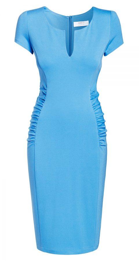AMCO Fashion by Annett Möller | AMCO Eden Dress | Sky Blue | Hellblau | Strechkleid mit seitlichen Falten und Kurzarm