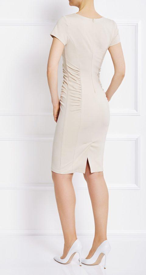 AMCO Fashion by Annett Möller | AMCO Eden Dress | Beach Sand | Creme | Strechkleid mit seitlichen Falten und Kurzarm