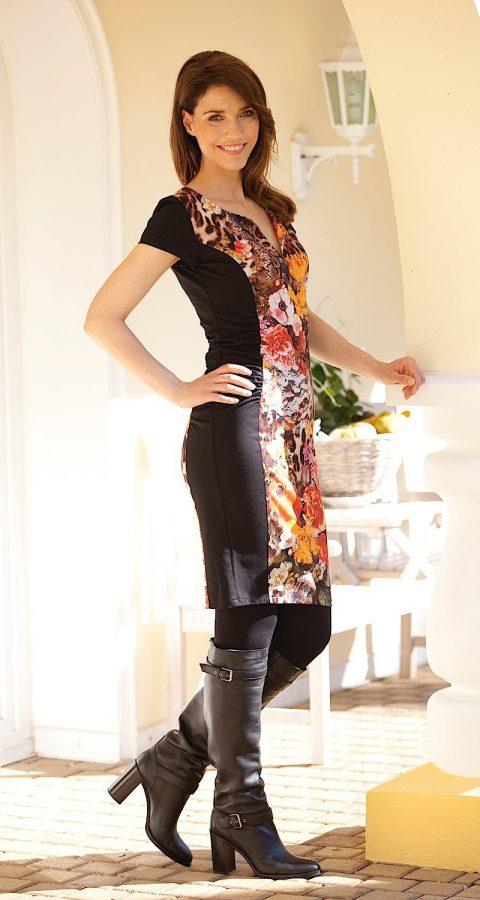 AMCO Fashion by Annett Möller | AMCO Eden Dress | Wild Jungle | Tier- und Blumenprint | Strech-Kleid mit seitlichen Falten | Kurzarm