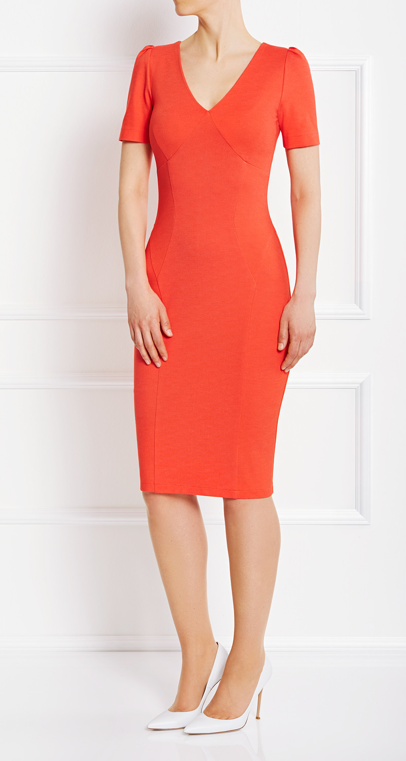AMCO Fashion by Annett Möller |AMCO Victoria Dress | Sundown Orange | Orange | Strech-Kleid | V-Ausschnitt | Puffärmelchen | mit auffälligem Reissverschluss