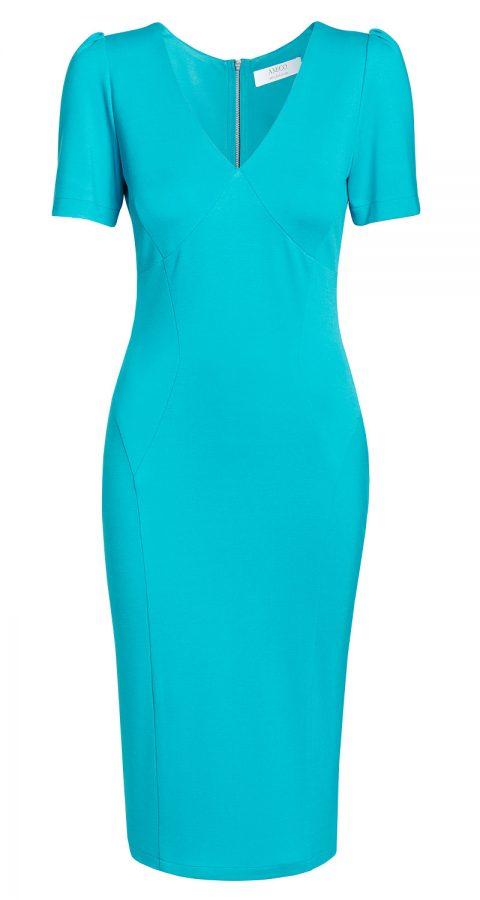 AMCO Fashion by Annett Möller |AMCO Victoria Dress | Tropical Turquoise | Türkis | Strech-Kleid | V-Ausschnitt | Puffärmelchen | mit auffälligem Reissverschluss
