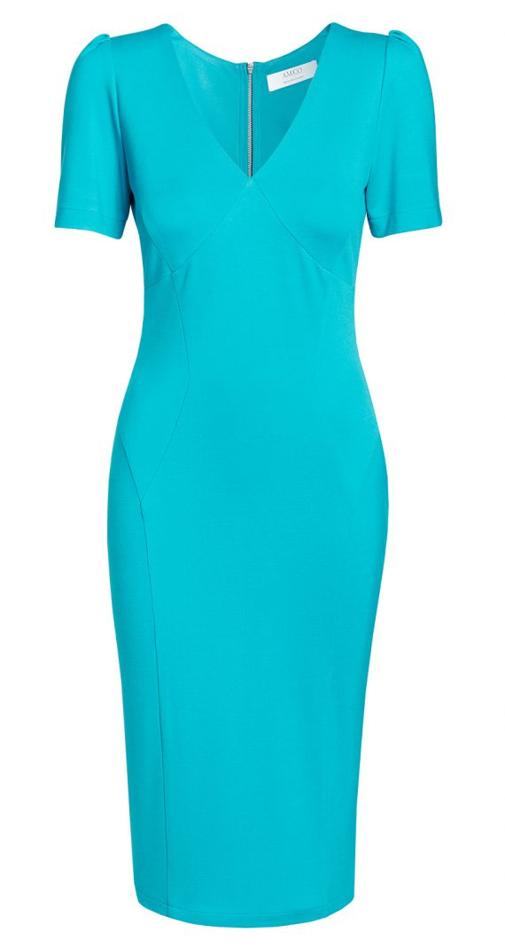 AMCO Fashion by Annett Möller |AMCO Victoria Dress | Tropical Turquoise | Türkis | Strech-Kleid | V-Ausschnitt | Puffärmelchen | mit auffälligem Reissverschluss