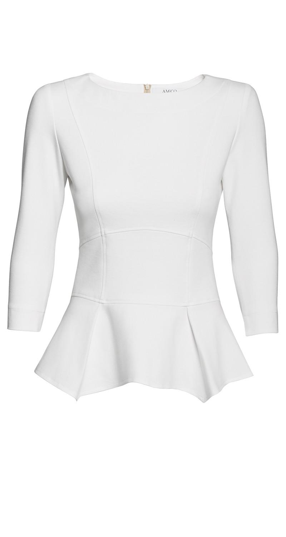 AMCO Fashion by Annett Möller | AMCO Issaya Blouse | Cream | Creme | Strech-Oberteil mit Schößchen