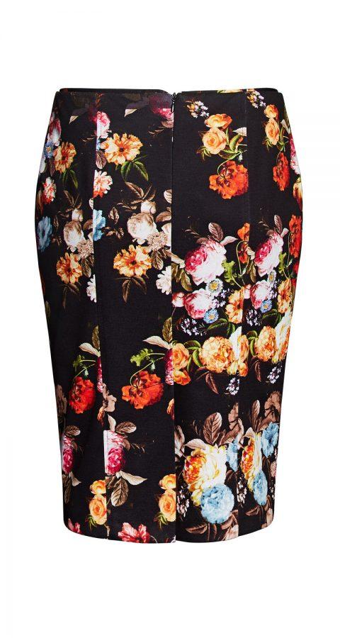AMCO Fashion by Annett Möller | AMCO Cayla Skirt | Dark Flowers | Dunkel mit Blumenprint | Gefütterter Bleistiftrock in Strech-Qualität