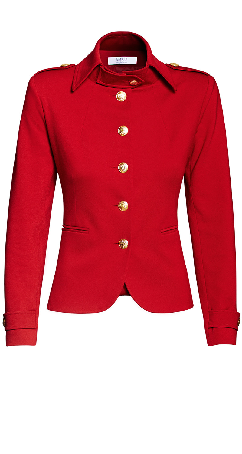 AMCO Fashion by Annett Möller | AMCO Albany Jacket | Flamenco Red | Rot | Sportlicher Strech-Blazer | Military Look | goldene Knöpfe
