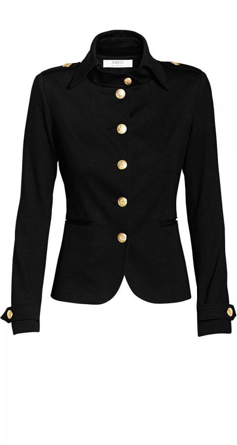 AMCO Fashion by Annett Möller | AMCO Albany Jacket | Classic Black | Schwarz | Sportlicher Strech-Blazer | Military Look | goldene Knöpfe