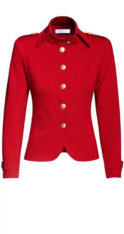 AMCO Fashion by Annett Möller | AMCO Albany Jacket | Flamenco Red | Rot | Sportlicher Strech-Blazer | Military Look | goldene Knöpfe