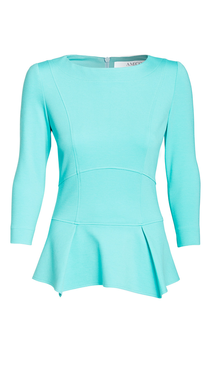 AMCO Fashion by Annett Möller | AMCO Issaya Blouse | Hawaii Blue | Hellblau | Hochwertiges Stretch-Oberteil | mit Schößchen
