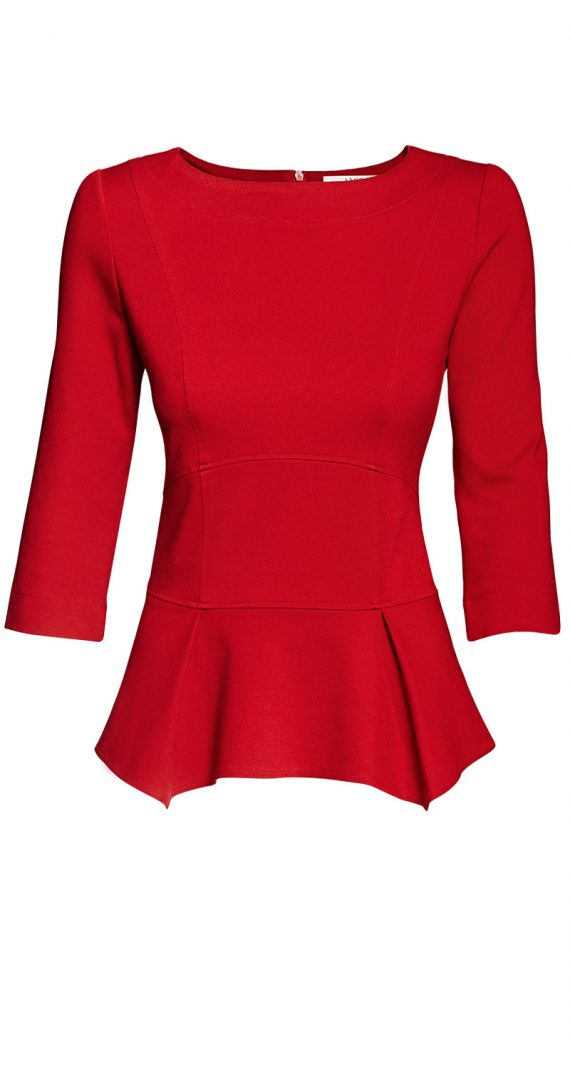 AMCO Fashion by Annett Möller | AMCO Issaya Blouse | Flamenco Red | Rot | Hochwertiges Stretch-Oberteil | mit Schößchen