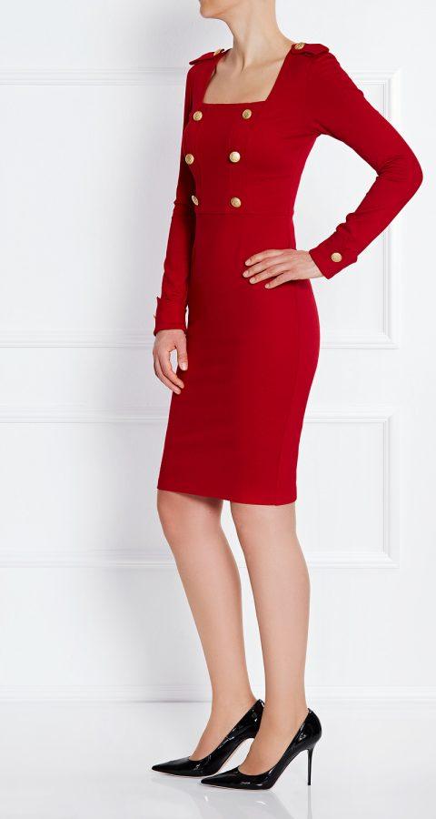 AMCO Fashion by Annett Möller | AMCO Candance Dress | Flamenco Red | Rot | Strech-Kleid im Military Look | goldene Metallknöpfe mit Wappen