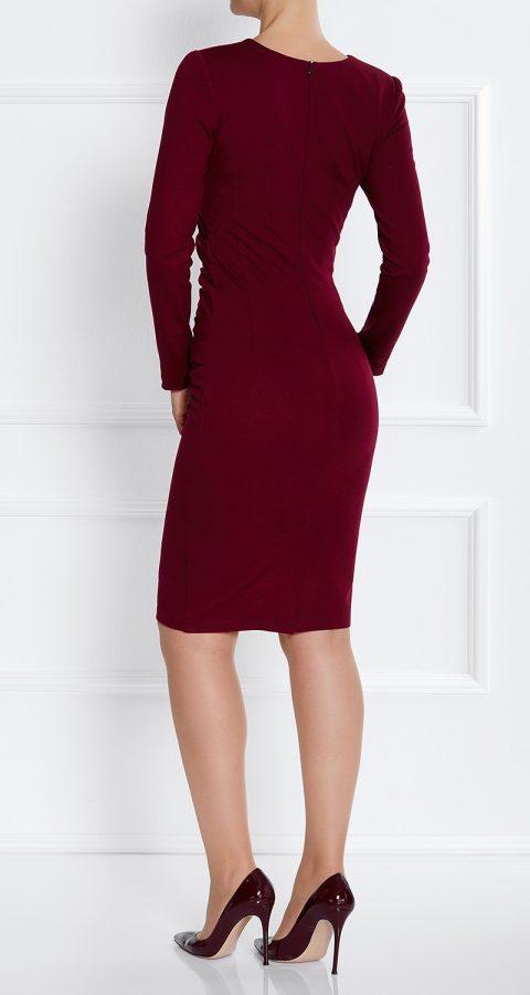 AMCO Fashion by Annett Möller   AMCO Savanna Dress   Red Wine   Weinrot   Stretch Kleid mit Falten am Bauch