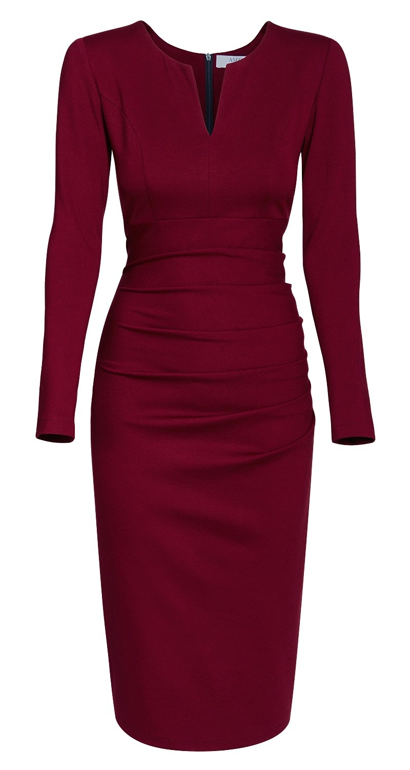 AMCO Fashion by Annett Möller | AMCO Savanna Dress | Red Wine | Weinrot | Stretch Kleid mit Falten am Bauch