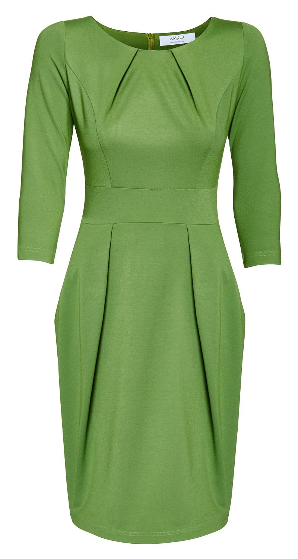 AMCO Fashion by Annett Möller | AMCO Leeona Dress | Spring Green | Grün | Strechkleid mit Taschen | Tulpenrock