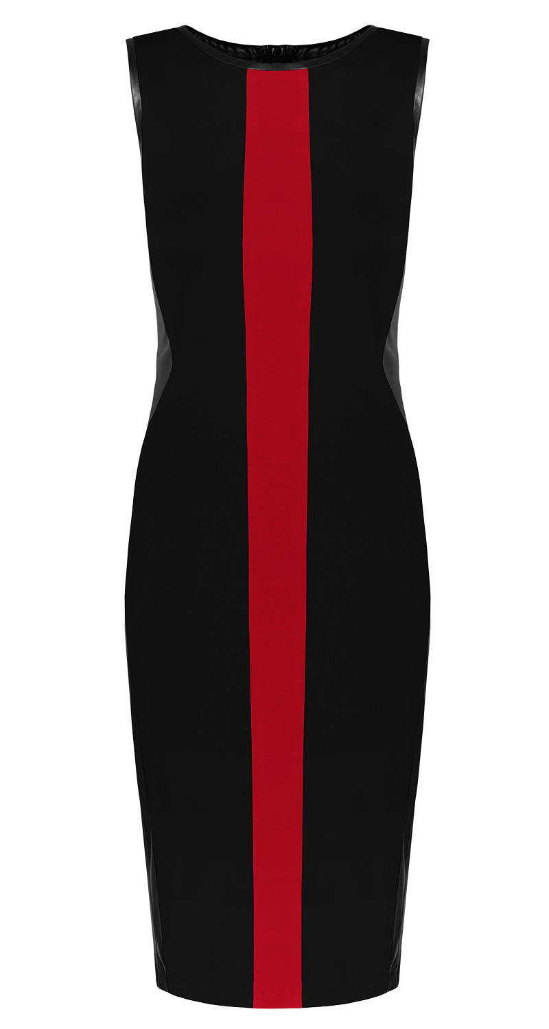 AMCO Fashion by Annett Möller | AMCO Emily Dress | Classic Black and Red Stripe | Schwarz und Rot | Stretchkleid mit Kunstledereinsätzen