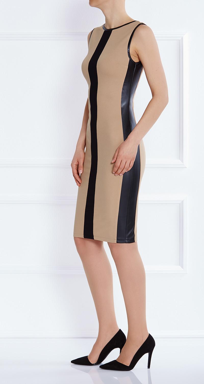 AMCO Fashion by Annett Möller | AMCO Emily Dress | Classic Black and Caramel | Schwarz und Karamell | Stretchkleid mit Kunstledereinsätzen
