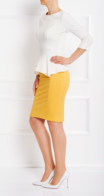 AMCO Fashion by Annett Möller | AMCO Cayla Skirt | Sunrise Yellow | Gelb | Gefütterter Bleistiftrock in Stretch-Qualität