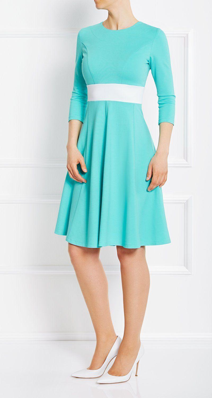 AMCO Fashion by Annett Möller | AMCO CARRIE DRESS | Hawaii Blue | Hellblau | Stretch-Kleid mit Rundhalsausschnitt | mit weit geschnittenem Rock | Glockenrock