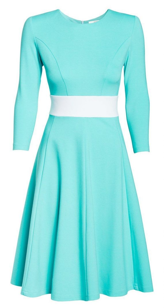 AMCO Fashion by Annett Möller | AMCO CARRIE DRESS | Hawaii Blue | Hellblau | Stretch-Kleid mit Rundhalsausschnitt | mit weit geschnittenem Rock | Glockenrock