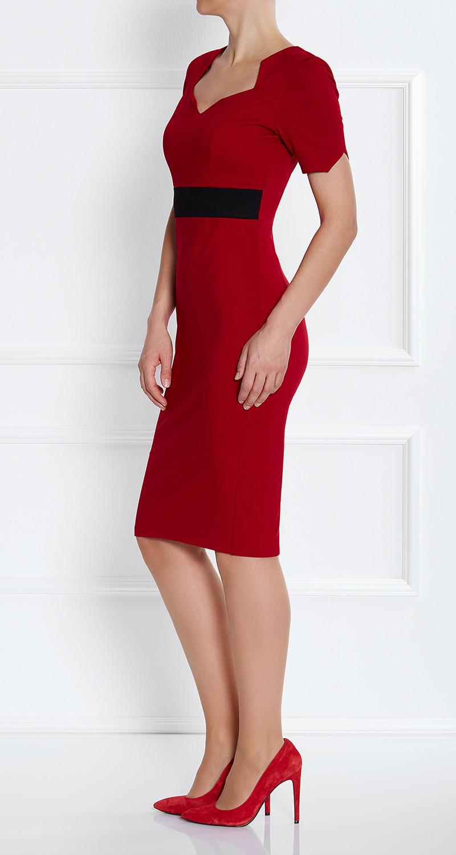 AMCO Fashion by Annett Möller | AMCO Noemie Dress | Flamenco Red and Black Stripe | Rot mit Schwarz | Stretch Kleid mit sternförmigem Ausschnitt