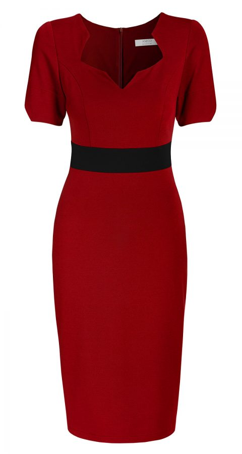 AMCO Fashion by Annett Möller | AMCO Noemie Dress | Flamenco Red and Black Stripe | Rot mit Schwarz | Stretch Kleid mit sternförmigem Ausschnitt
