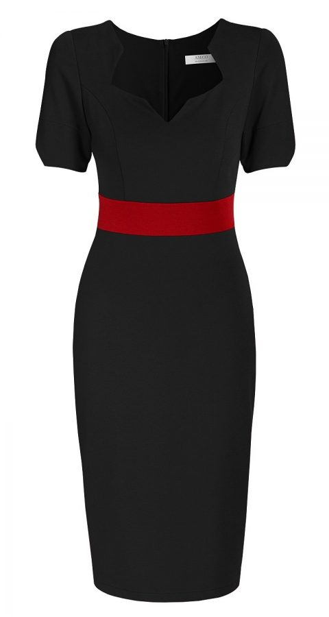 AMCO Fashion by Annett Möller | AMCO Noemie Dress | Classic Black and Red Stripe | Schwarz | Stretch Kleid mit sternförmigem Ausschnitt