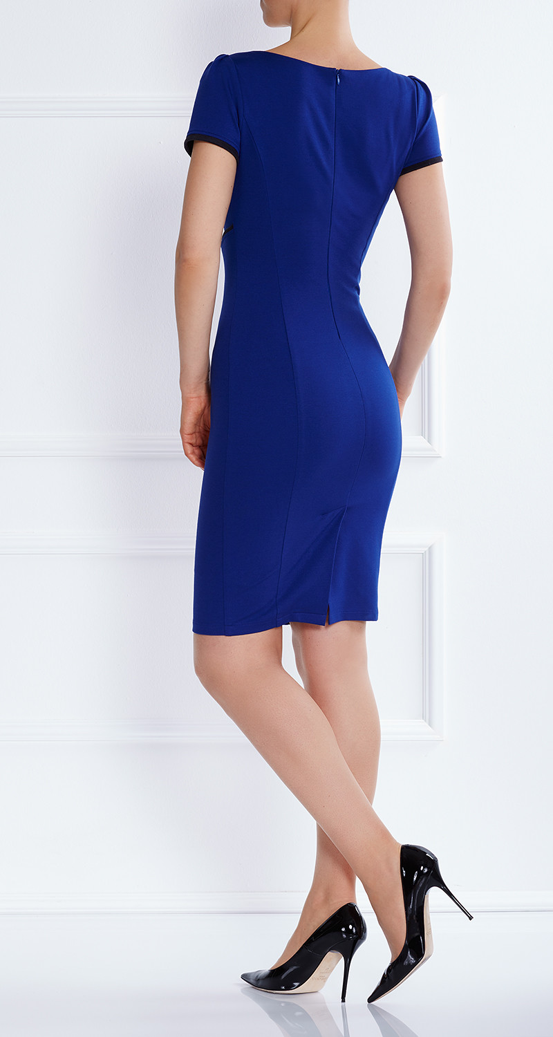 AMCO Fashion by Annett Möller | AMCO Dahlia Dress | Royal Blue | Blau | Stretch Kleid mit markanter Linienführung