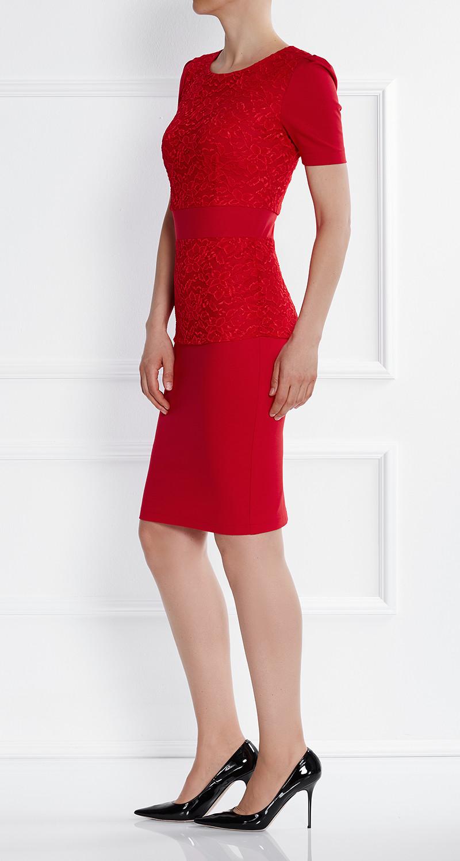 AMCO Fashion by Annett Möller | AMCO Florence Dress | Flame Red | Rot | Stretch Kleid mit aufgesetzter Spitze
