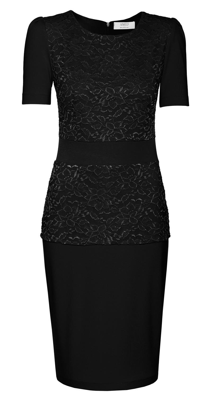 AMCO Fashion by Annett Möller | AMCO Florence Dress | Classic Black | Schwarz | Stretch Kleid mit aufgesetzter Spitze | Stretch Spitze