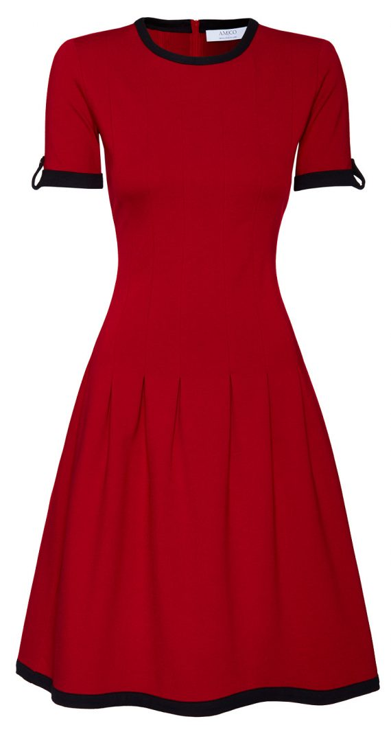 AMCO Fashion by Annett Möller | AMCO Celilia Dress | Flamenco Red | Rot | Stretch Kleid mit verspielten Falten