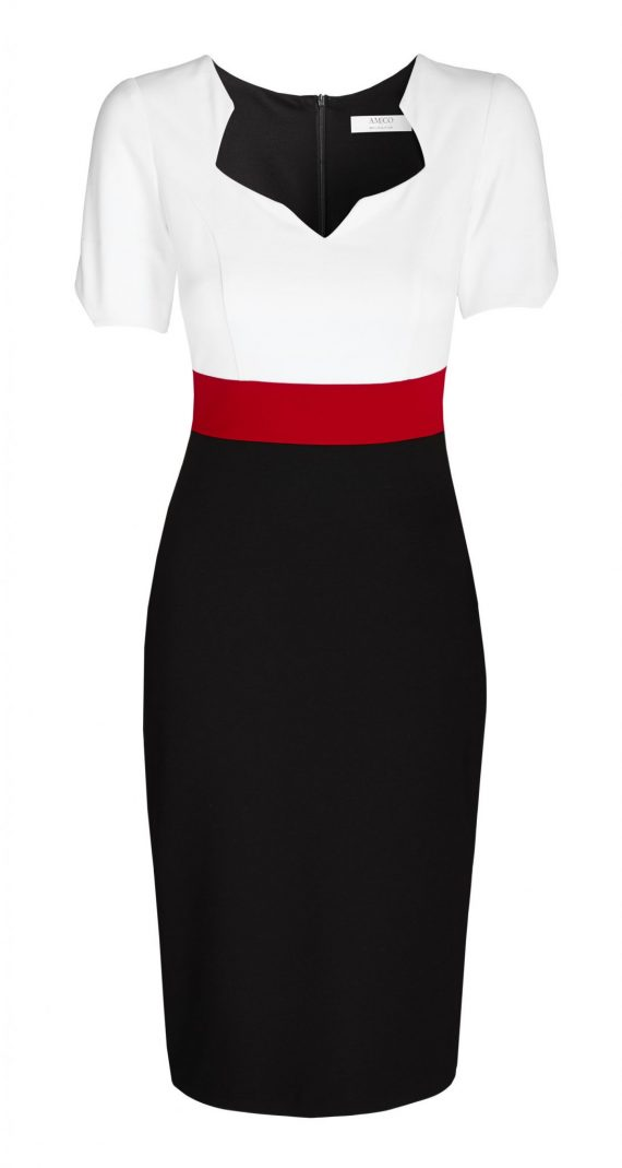 AMCO Fashion by Annett Möller | AMCO Noemie Dress | Tricolor | Weiß Rot Schwarz | Stretch Kleid mit sternförmigem Ausschnitt | mit verdecktem Reissverschluss