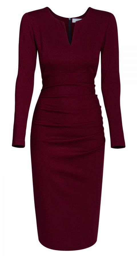 AMCO Fashion by Annett Möller | AMCO Savanna Dress | Red Wine | Weinrot | elegantes Strechkleid | mit verdecktem Reissverschluss | Langarm
