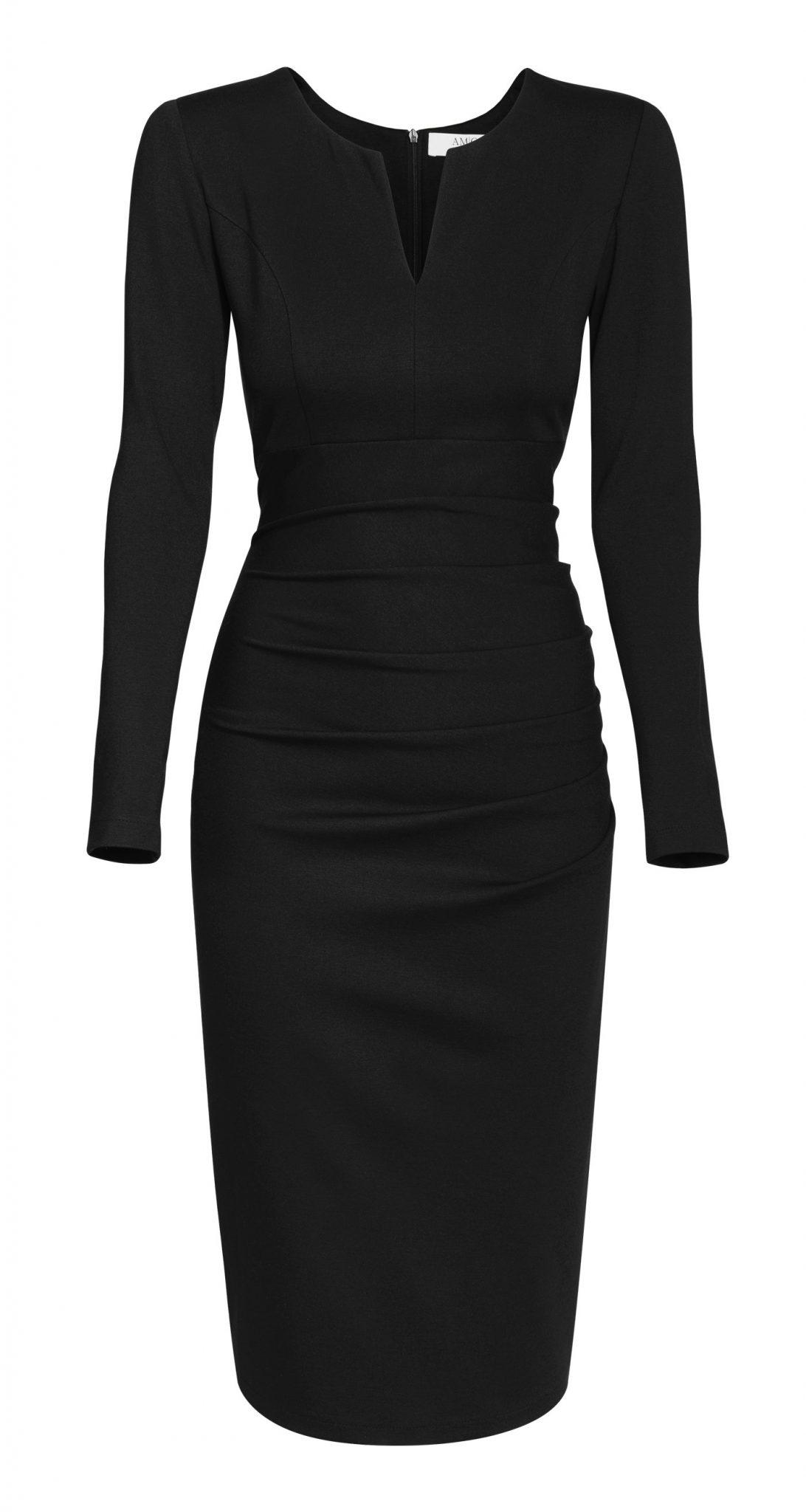 AMCO Fashion by Annett Möller | AMCO Savanna Dress | Classic Black | Schwarz | elegantes Strechkleid | mit verdecktem Reissverschluss | Langarm