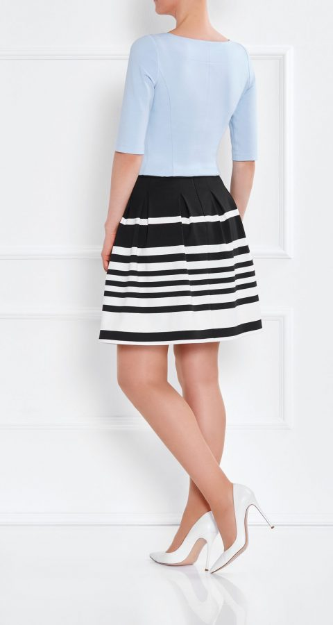 AMCO Fashion by Annett Möller | AMCO MAREA SKIRT | Cream and Classic Black Stripes | Creme und Schwarz | Jerseyrock im angesagten Streifendesign | Faltenrock