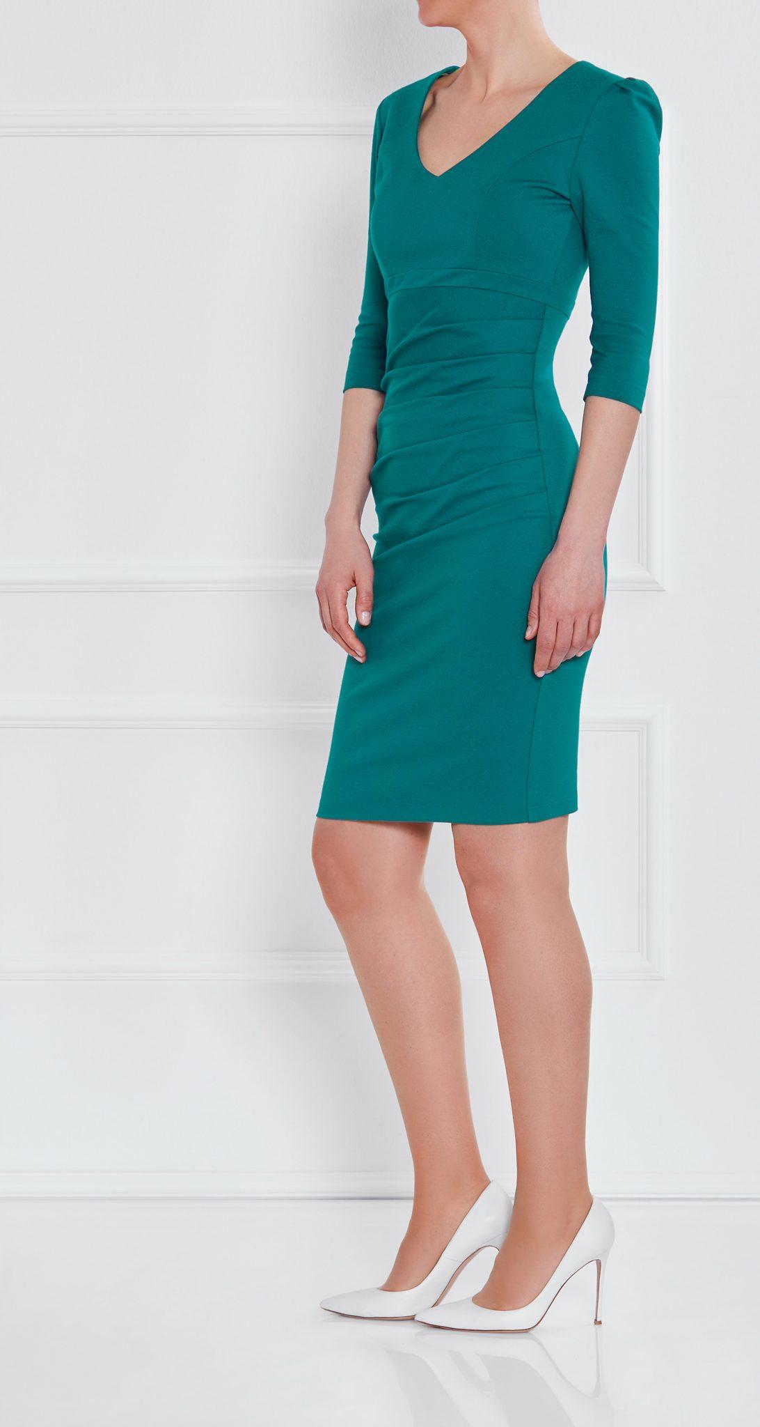 AMCO Fashion by Annett Möller | AMCO LEYLEA DRESS | Petrol | Grün | Stretchkleid mit kaschierenden Falten | mit sichtbarem Reissverschluss | V-Ausschnitt | Puffärmelchen