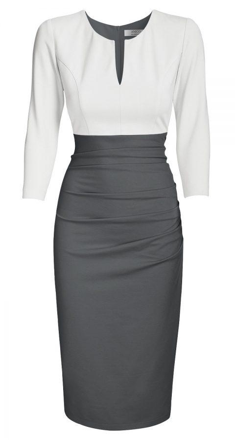 AMCO Fashion by Annett Möller | AMCO SAVANNA DRESS | CREAM AND STONE GREY | Creme und Grau | elegant-sportliches Stretchkleid