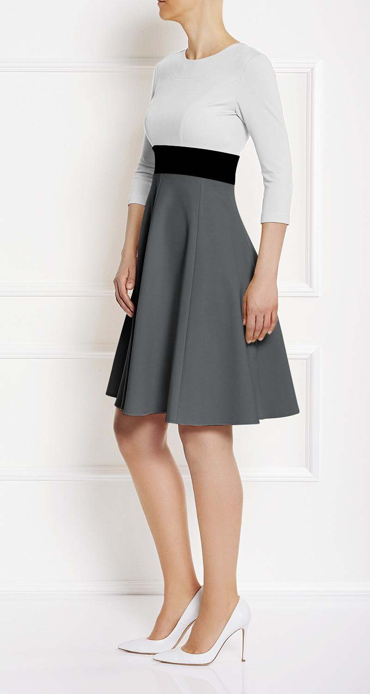 AMCO Fashion by Annett Möller | AMCO CARRIE DRESS | Cream and Stone Grey | Creme und Grau | Stretchkleid mit Glockenrock | Jerseystoff | knitterarm
