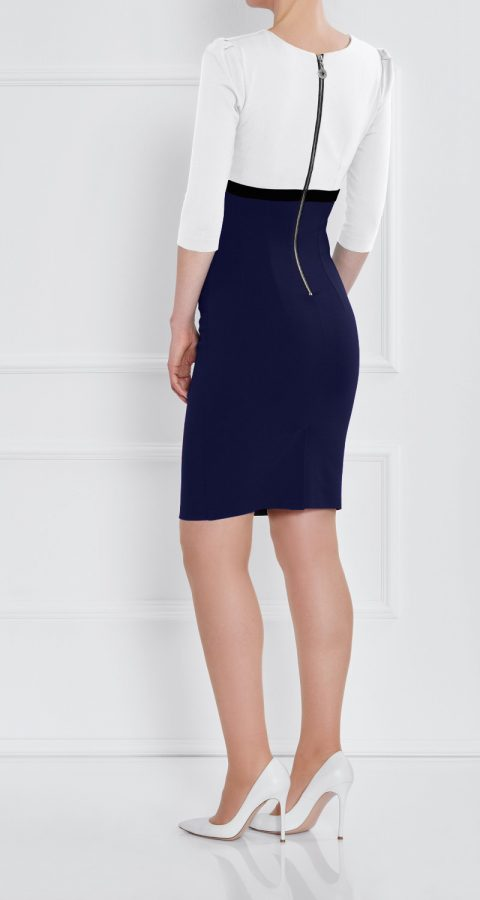 AMCO Fashion by Annett Möller   AMCO LEYLEA DRESS   CREAM AND NIGHT BLUE   Creme und Dunkelblau   Stretchkleid mit kaschierenden Falten   mit sichtbarem Reissverschluss   V-Ausschnitt   Puffärmelchen