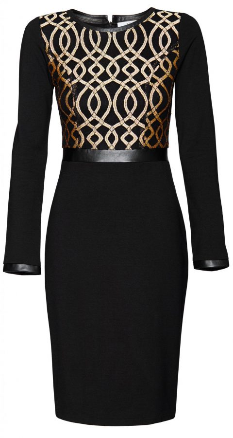 AMCO Fashion by Annett Möller | AMCO HAMPTON NIGHTS DRESS | Schwarz und Gold | Stretchkleid mit aufgesetzter dehnbarer Spitze | abgesetzte Kanten aus Kunstleder
