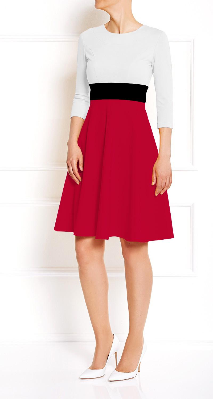 AMCO Fashion by Annett Möller | AMCO CARRIE DRESS | Cream and Flamenco Red | Creme und Rot | Stretchkleid mit Glockenrock | Jerseystoff | knitterarm