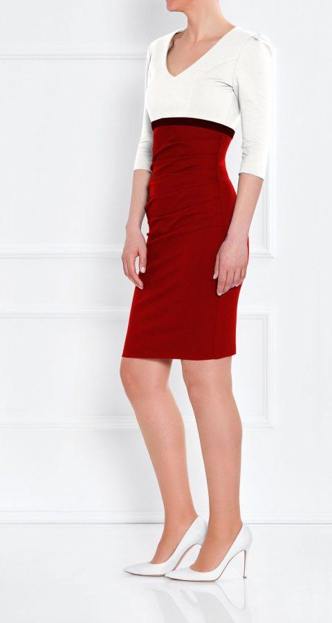 AMCO Fashion by Annett Möller | AMCO LEYLEA DRESS | Stretchkleid | Creme und Flamenco Rot | Stretch Kleid mit V-Ausschnitt | sichtbarer Reissverschluss