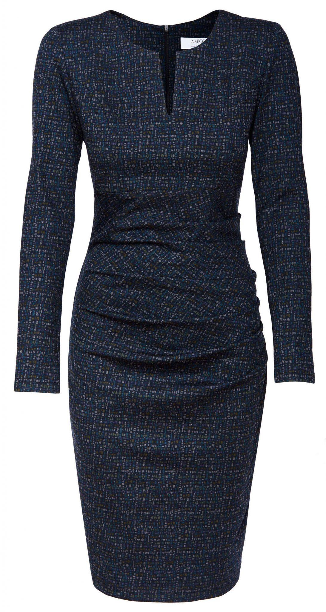 AMCO Fashion by Annett Möller | AMCO SAVANNA DRESS | Winter Flake | Dunkelblau | Stretchkleid mit Punkten | lange Ärmel
