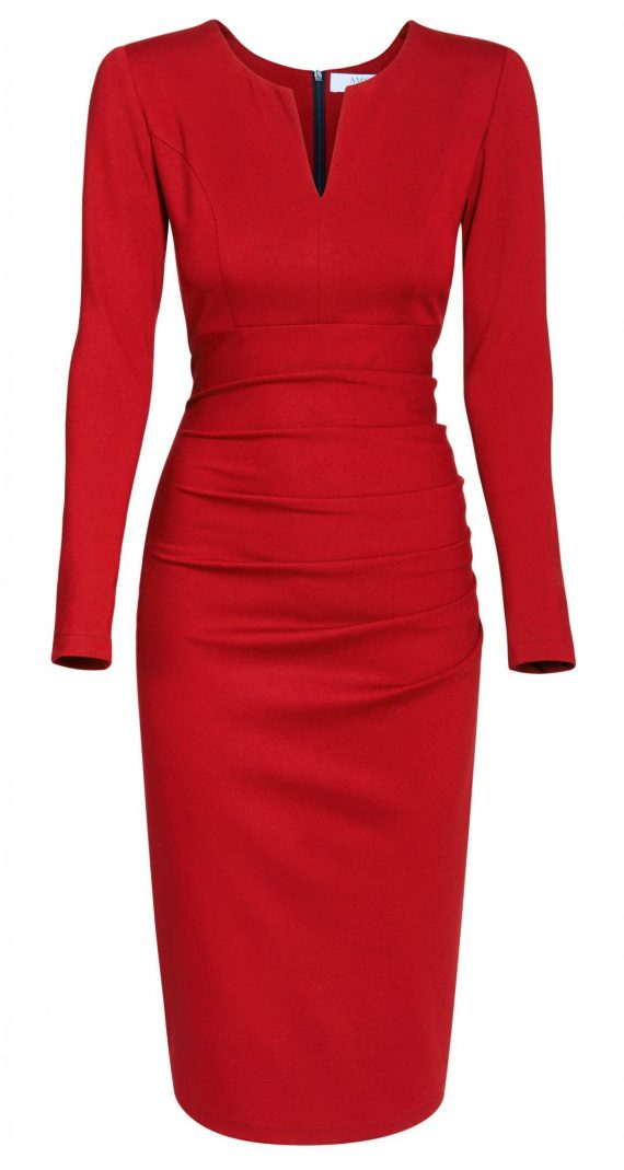 AMCO Fashion by Annett Möller | AMCO SAVANNA DRESS | Stretch-Kleid | Flamenco Red | Business Kleid | für große Frauen