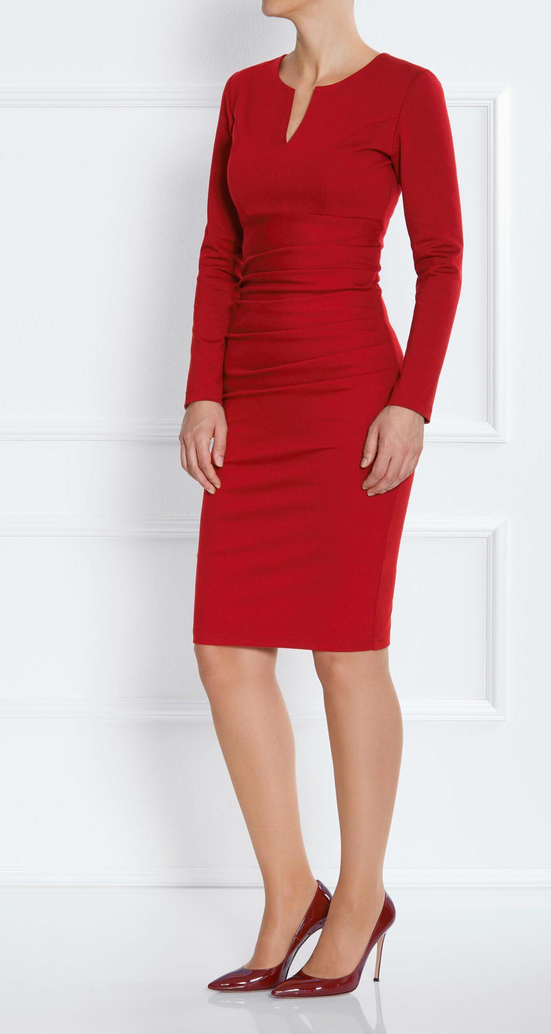 AMCO Fashion by Annett Möller | AMCO SAVANNA DRESS | Stretch-Kleid | Flamenco Red | Business Kleid | für große Frauen