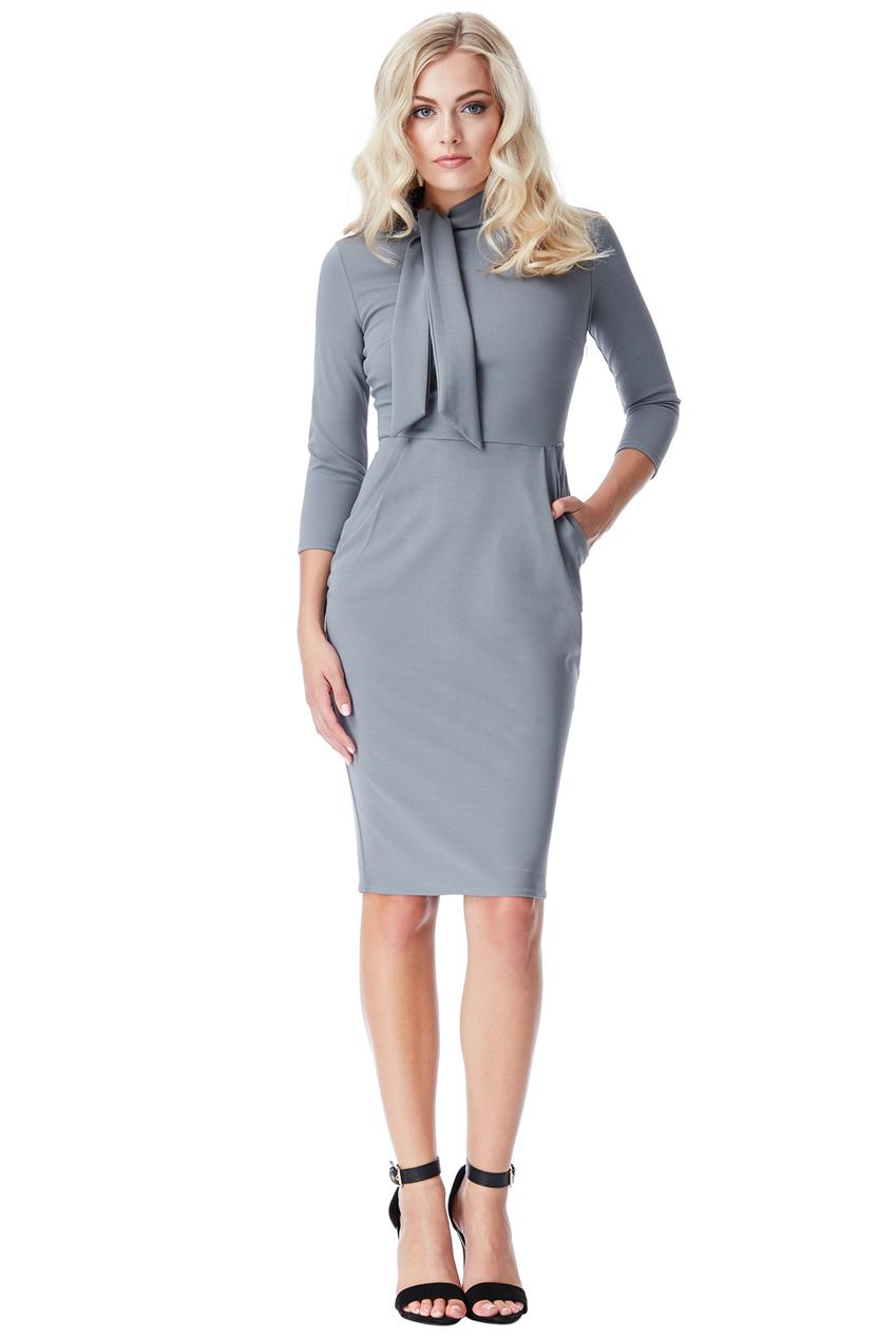 AMCO Fashion by Annett Möller | City Goddess | Kleid mit Schluppe und Taschen | Grau | Business Kleid