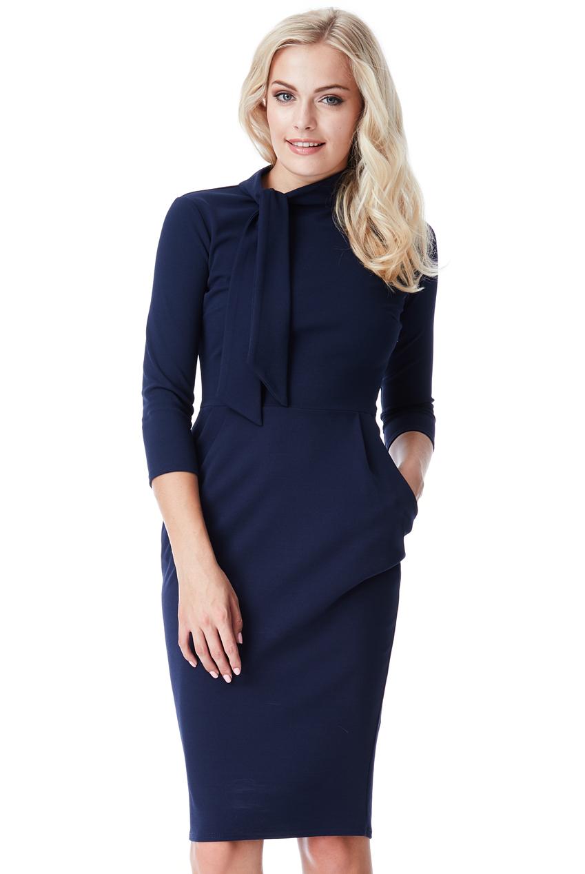 AMCO Fashion by Annett Möller | City Goddess | Kleid mit Schluppe und Taschen | Dunkelblau | Business Kleid