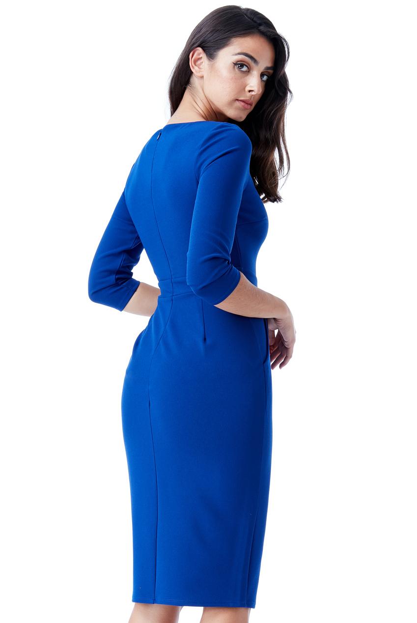 AMCO Fashion by Annett Möller | City Goddess | Kleid mit Metallic Ausschnitt | Royalblau | Business Kleid | mit eingefasstem metallic Ausschnitt