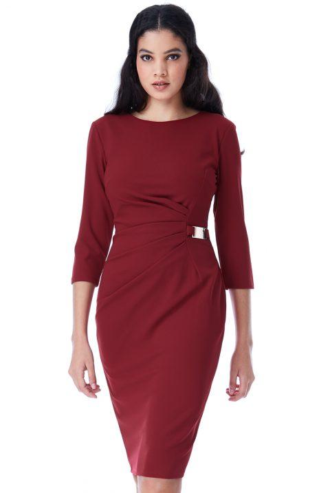 AMCO Fashion by Annett Möller | City Goddess | Kleid mit seitlicher Schnalle | Weinrot | Business Kleid | knitterarm